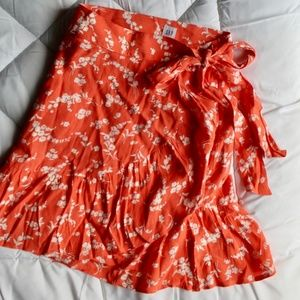 Gap Coral Flowered Wrap Skirt